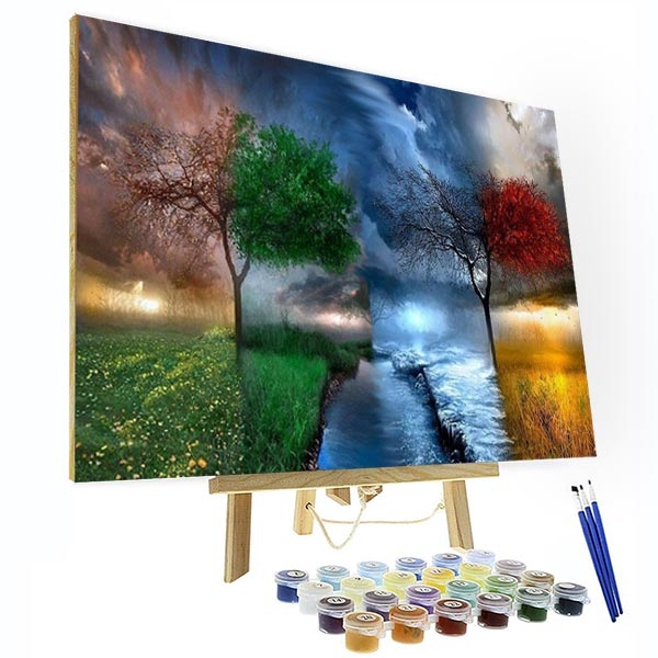 Paint by Numbers Kit - Four Seasons Tree - BlingPainting