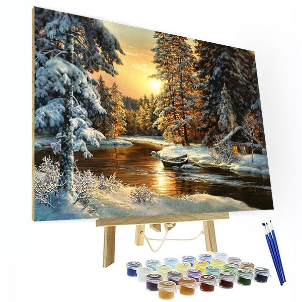 Paint by Numbers Kit - Snowy Forest Sunset - BlingPainting
