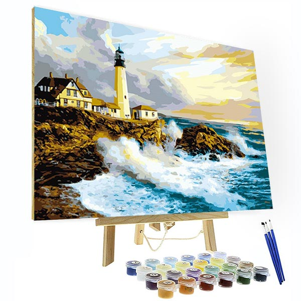 Paint by Numbers Kit - House By The Sea - BlingPainting