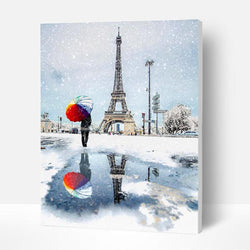 Paint by Numbers Kit - Snowy Eiffel Tower Landscape - BlingPainting