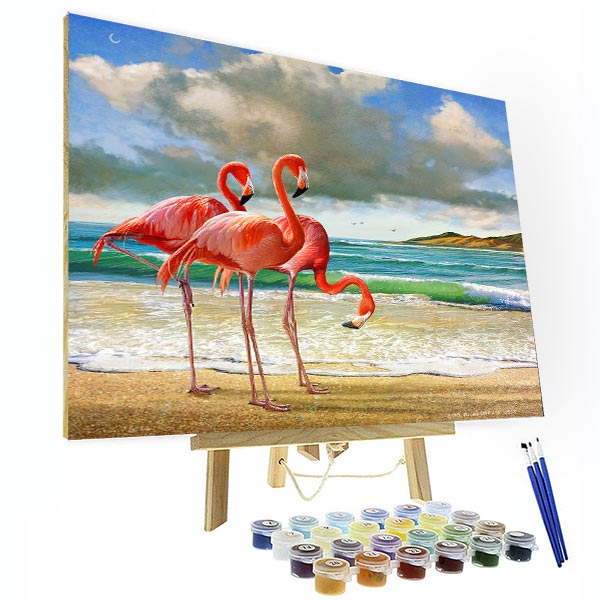 Paint by Numbers Kit - Flamingo At Beach - BlingPainting