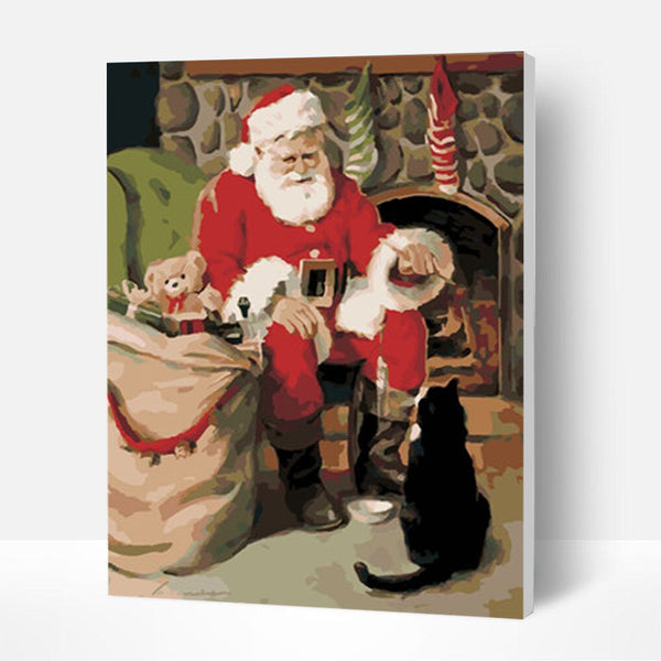 Christmas Paint by Numbers Kit - Santa Claus and the Staring kitten