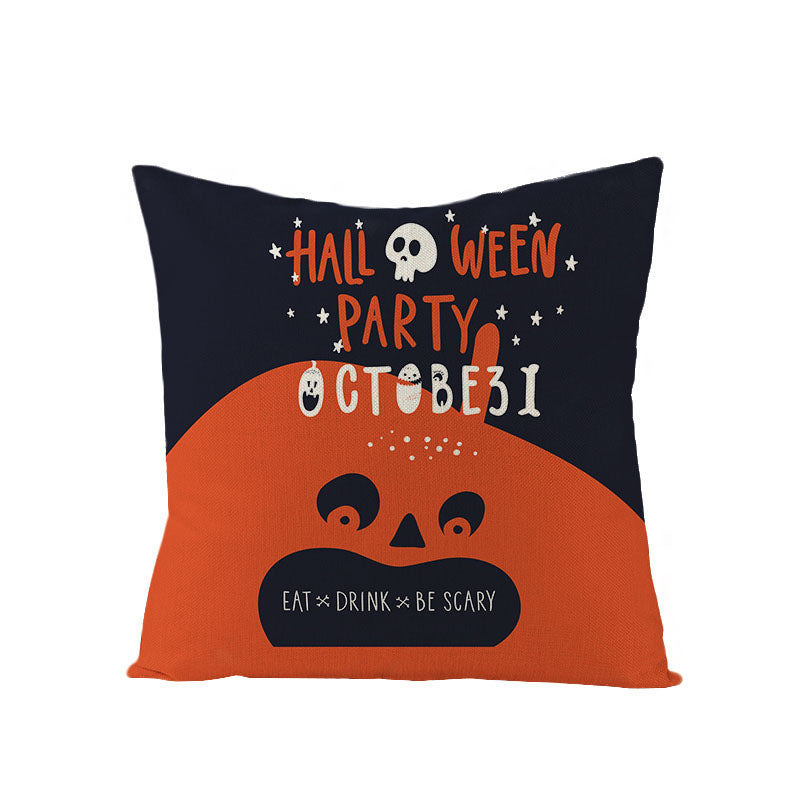 Halloween Decor Linen Funny Throw Pillow