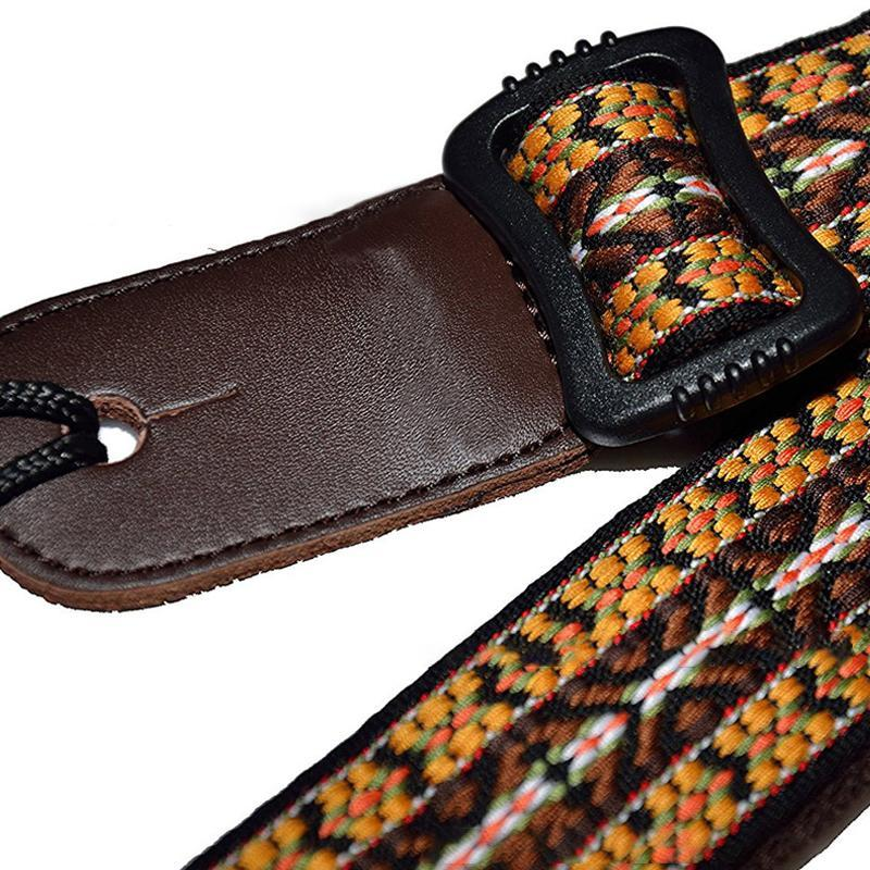 "Crafted Leather Ukulele Strap, 1.5"" Yellow - BlingPainting"