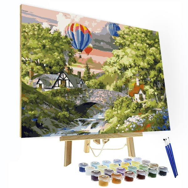 Paint by Numbers Kit -- Hot Air Balloon Trip - BlingPainting