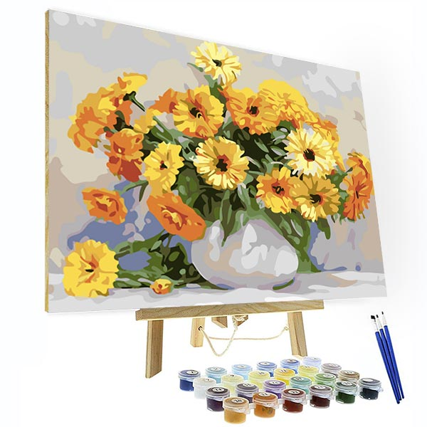 Paint by Numbers Kit - Golden Flowers - BlingPainting