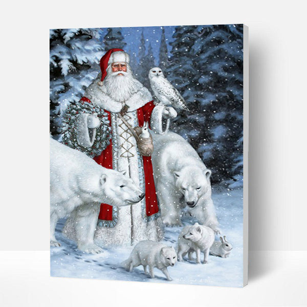 Christmas Paint by Numbers Kit - Santa Claus and Polar Bear