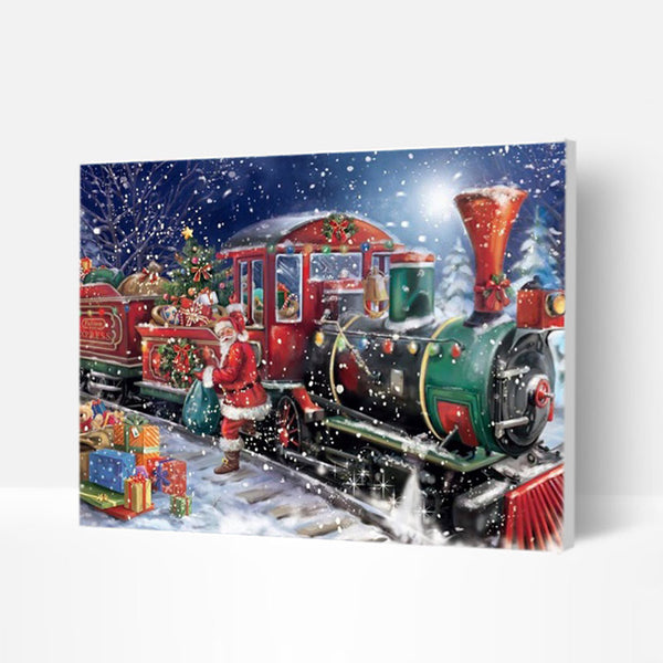 Christmas Paint by Numbers Kit - Santa Claus By The Train