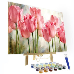 Paint by Numbers Kit - Pink tulip - BlingPainting