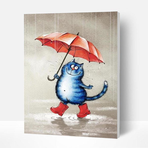 Paint by Numbers Kit - Blue Cat In The Rain - BlingPainting