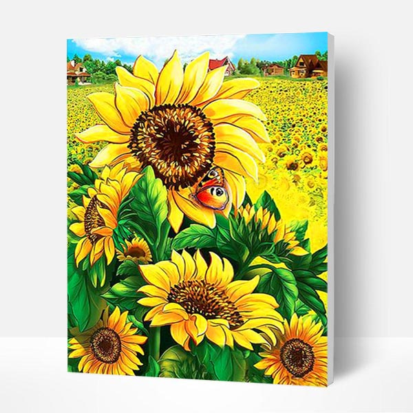 Paint by Number Kit   --  Sunflower and Butterfly
