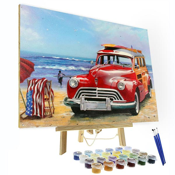 Paint by Numbers Kit - Vintage Car by The Sea - BlingPainting