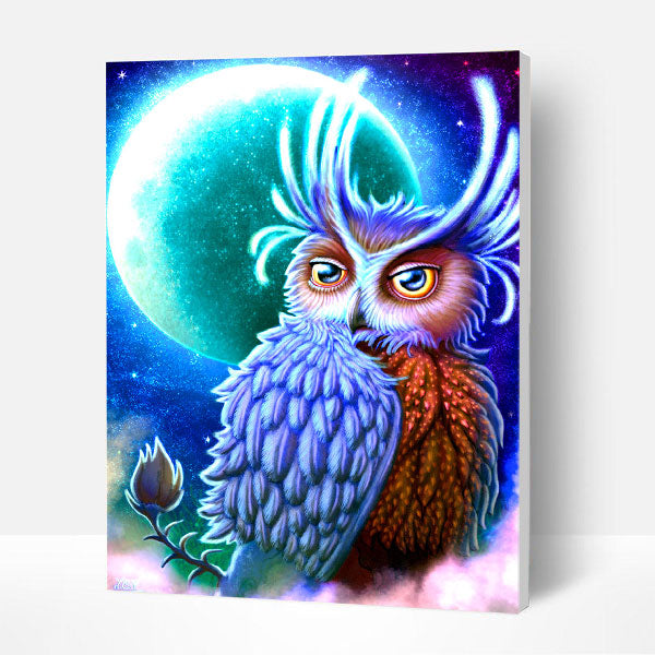 Paint by Numbers Kit - Moon & Owl - BlingPainting