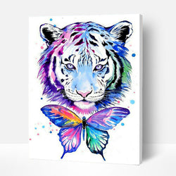 Paint by Numbers Kit - Tiger and Butterfly - BlingPainting