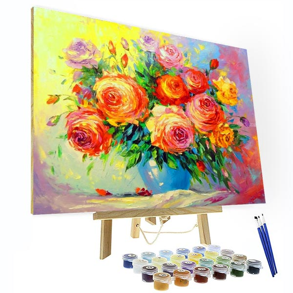 Paint by Numbers Kit - Colorful Rose - BlingPainting