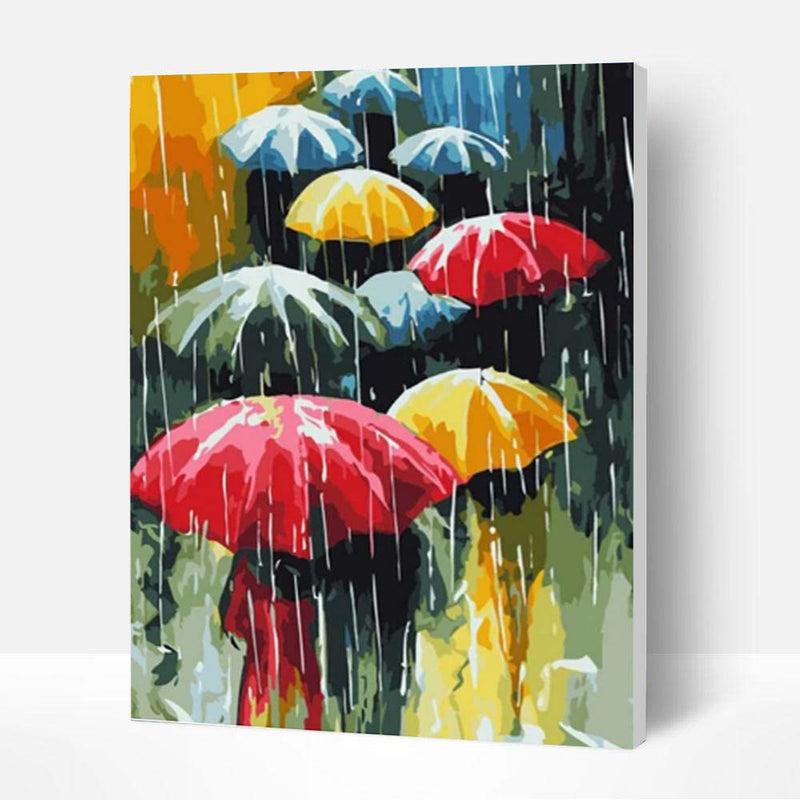 Paint by Numbers Kit - Umbrella In The Rain - BlingPainting