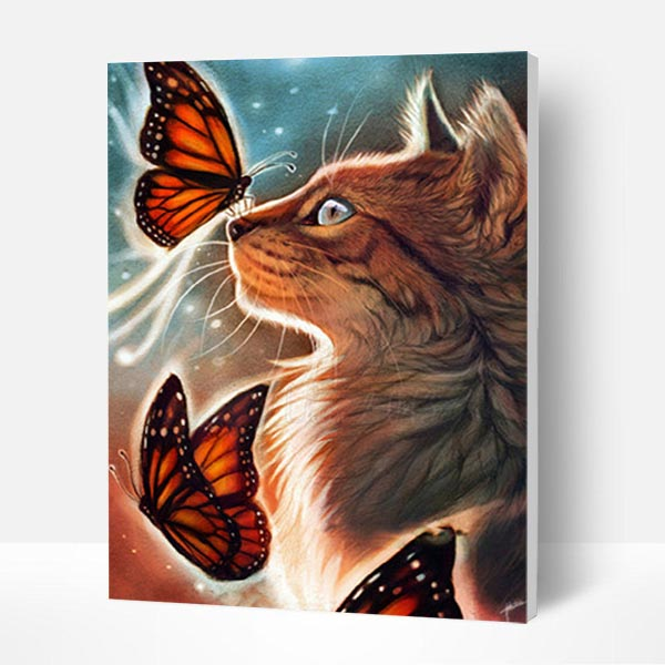 Paint by Number Kit   -- Cat and Butterfly - BlingPainting