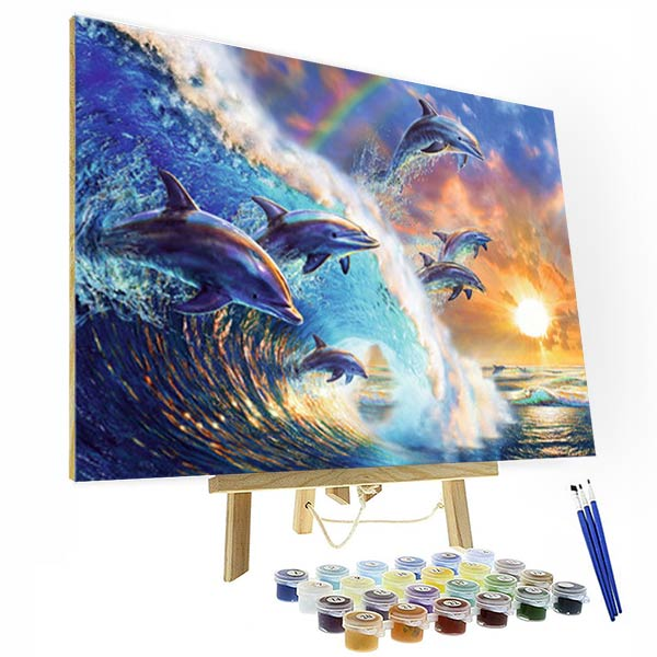 Paint by Numbers Kit - Swimming Competition for Dolphins - BlingPainting