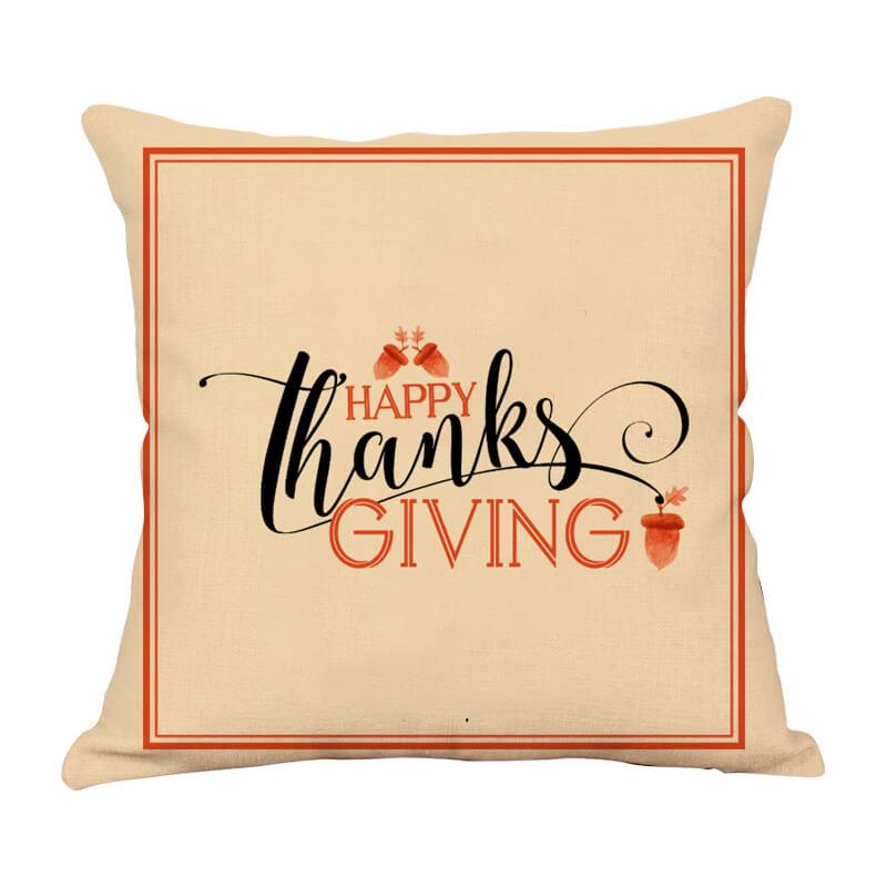 Thanksgiving Decor Text Throw Pillow - BlingPainting