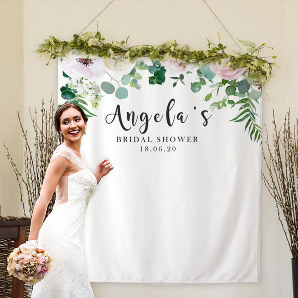 Custom Floral Bridal Shower Backdrop - BlingPainting