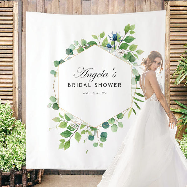 Custom Olive branch Bridal Shower Backdrop - BlingPainting