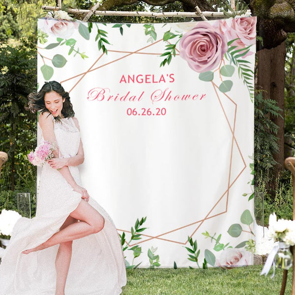 Custom Pink memory Bridal Shower Backdrop - BlingPainting
