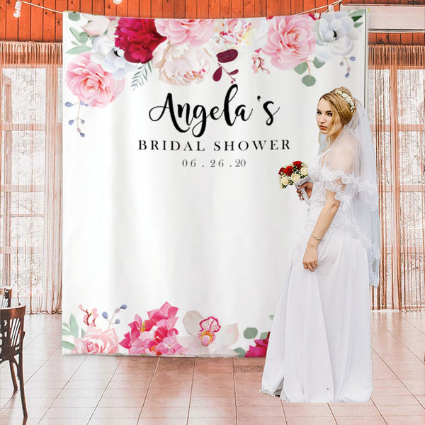 Custom Red romance Bridal Shower Backdrop - BlingPainting