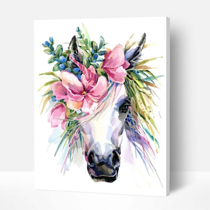 Paint by Numbers Kit - Flower Horse Head - BlingPainting