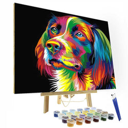 Paint by Number Kit --  Colorful Dog - BlingPainting