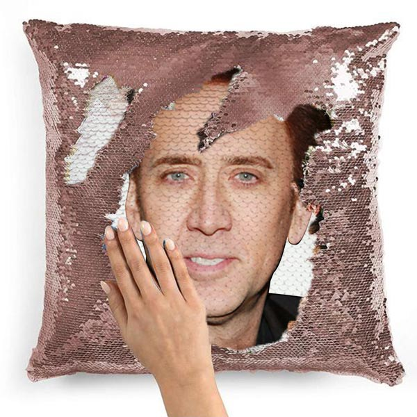 Nicolas Cage Funny Face Photo Sequin Pillow