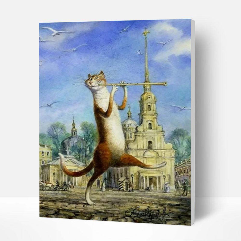 Paint by Numbers Kit - Cat Playing the Flute - BlingPainting