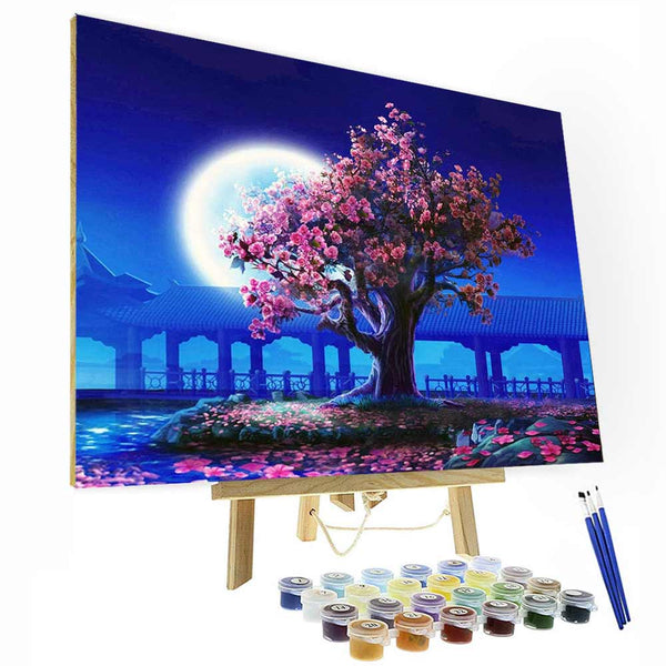 Paint by Numbers Kit - Cherry Blossom Tree Painting - BlingPainting