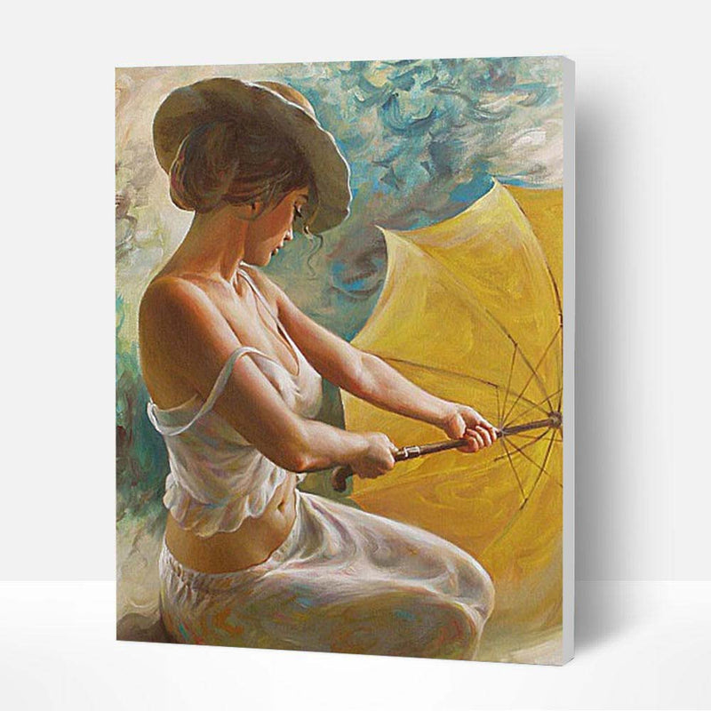 Paint by Numbers Kit -  Woman with Umbrella - BlingPainting
