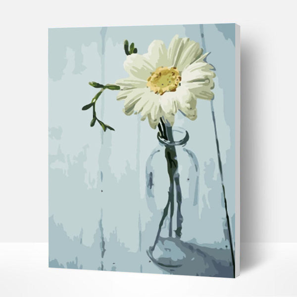 Paint by Numbers Kit - White Daisy - BlingPainting