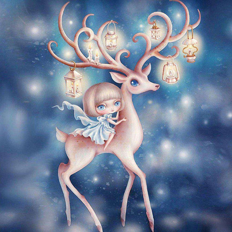 A Little Girl Riding the Deer - BlingPainting