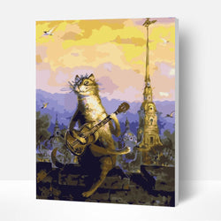 Paint by Numbers Kit -  Cat Playing Guitar - BlingPainting