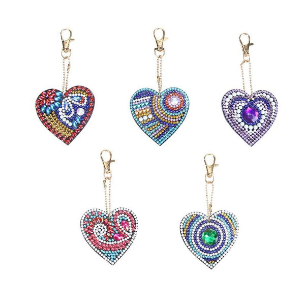 DIY 5D Mosaic Making Full Drill Special Shape Diamond Painting Keychain - Heart Shaped - BlingPainting