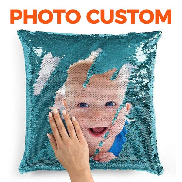 Custom Sequin Throw Pillow with Photo - BlingPainting
