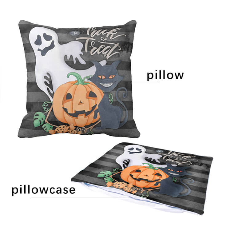 Halloween Decor Linen Emoji Throw Pillow - BlingPainting