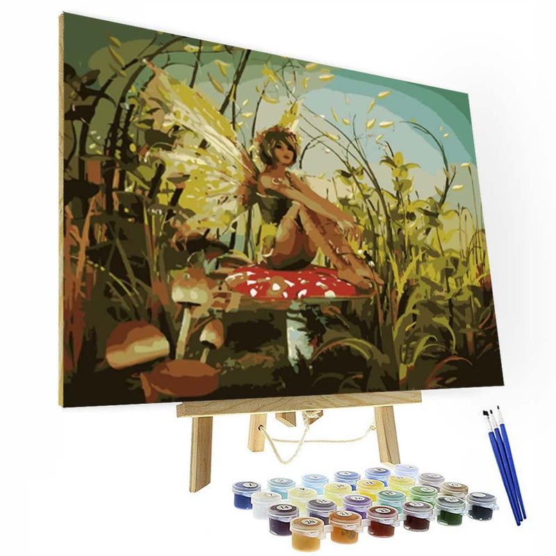 Paint by Numbers Kit - Butterfly Girl Sitting on a Mushroom - BlingPainting
