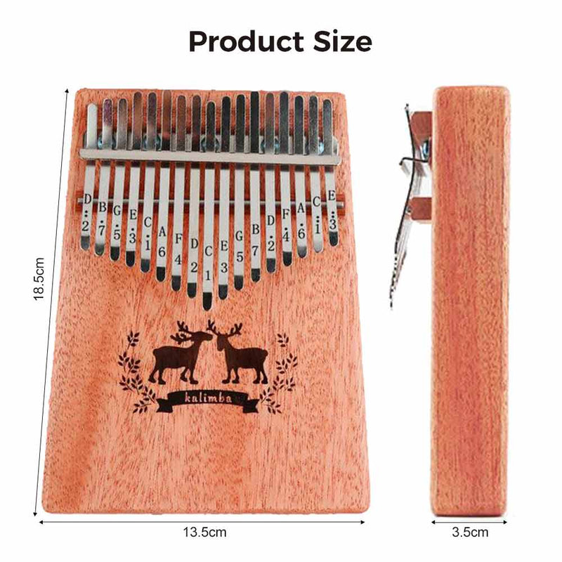 Portable  Kalimba 17 key Thumb Piano Mahogany Wood - BlingPainting