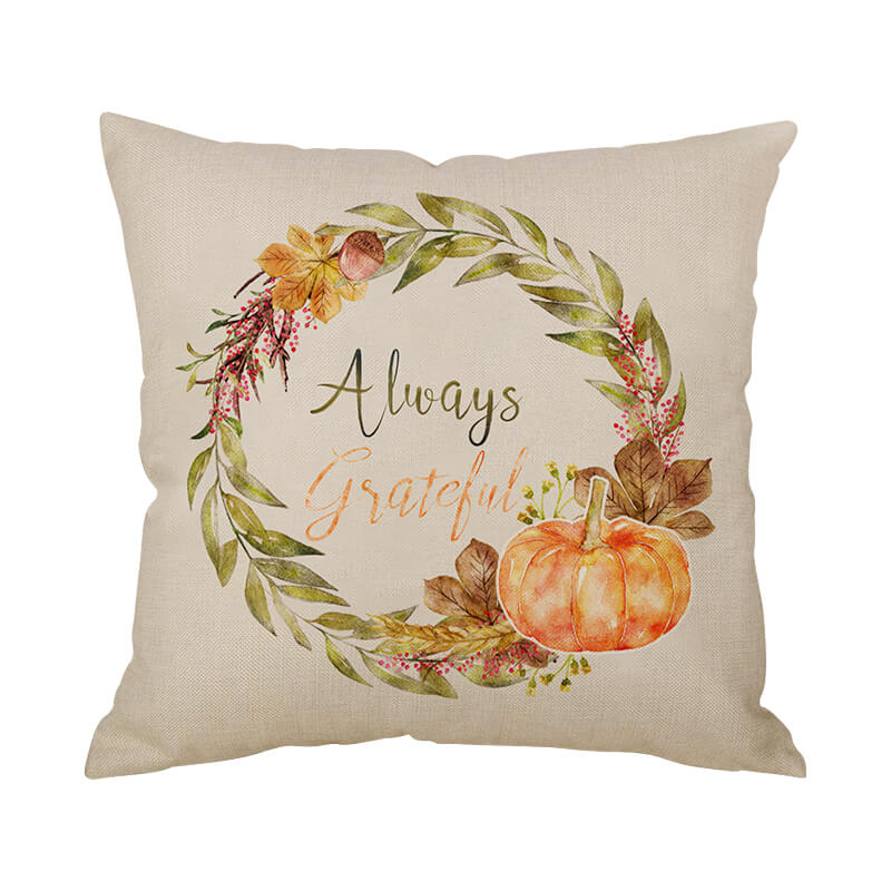 Thanksgiving Decor Wreath Throw Pillow - BlingPainting