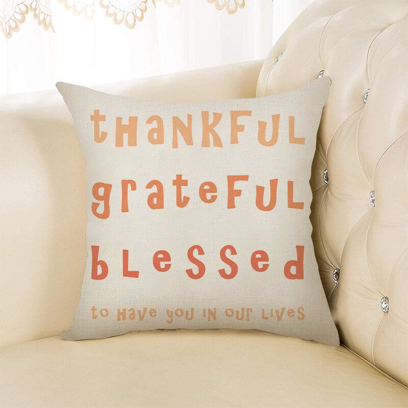 Thanksgiving Decor Text Throw Pillow J - BlingPainting