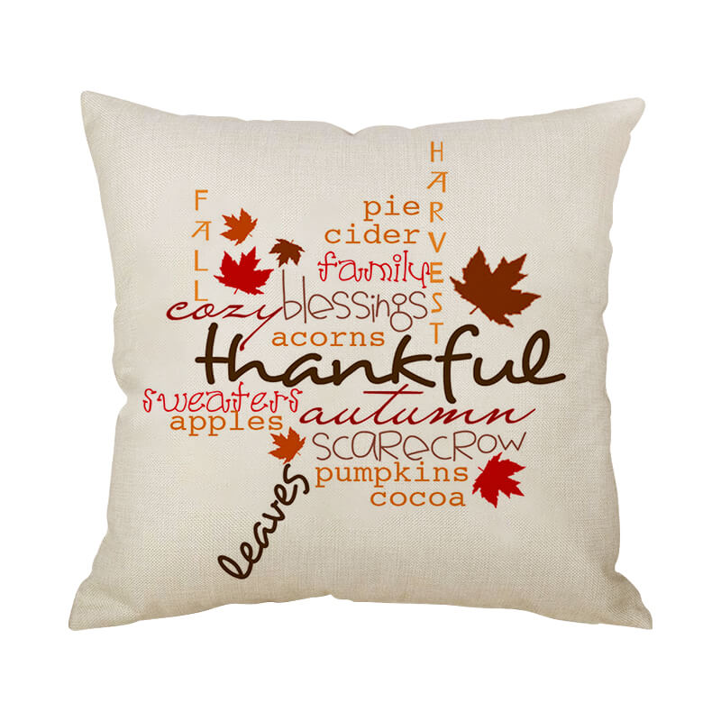 Thanksgiving Decor Text Throw Pillow N - BlingPainting
