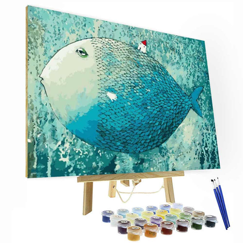 Paint by Numbers Kit - Big Fish & Small House - BlingPainting
