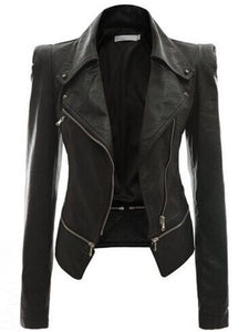 PU Turn-down Collar Patchwork Elegant Jacket