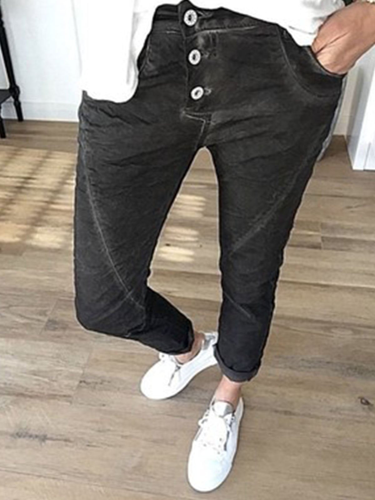 Casual Hand-Grinding Patchwork Pants