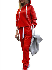 Casual Long Sleeve Jumpsuits Hoodies Pants Suit