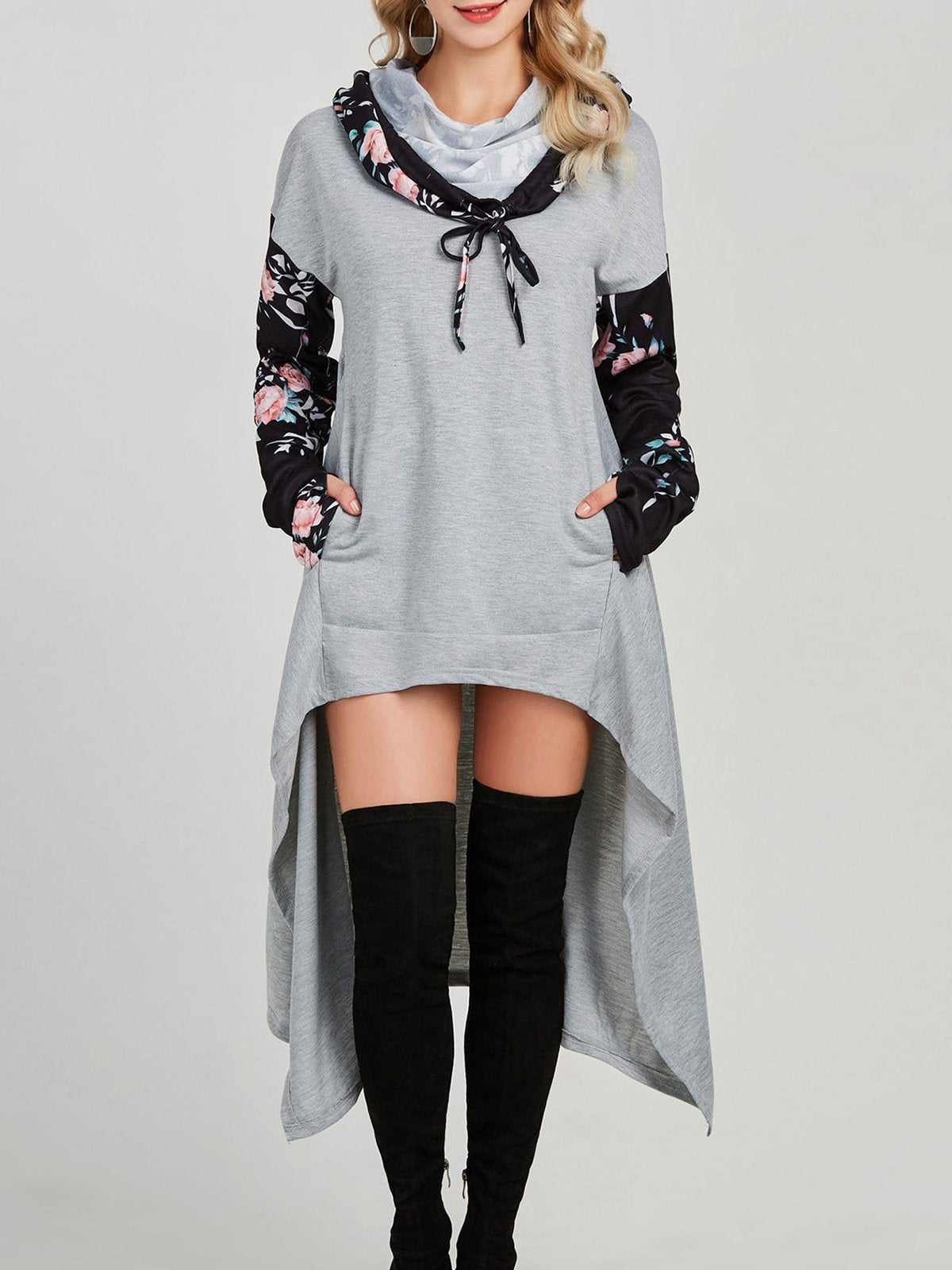 Floral Pullover Tunic Sweatshirts With Hoodie