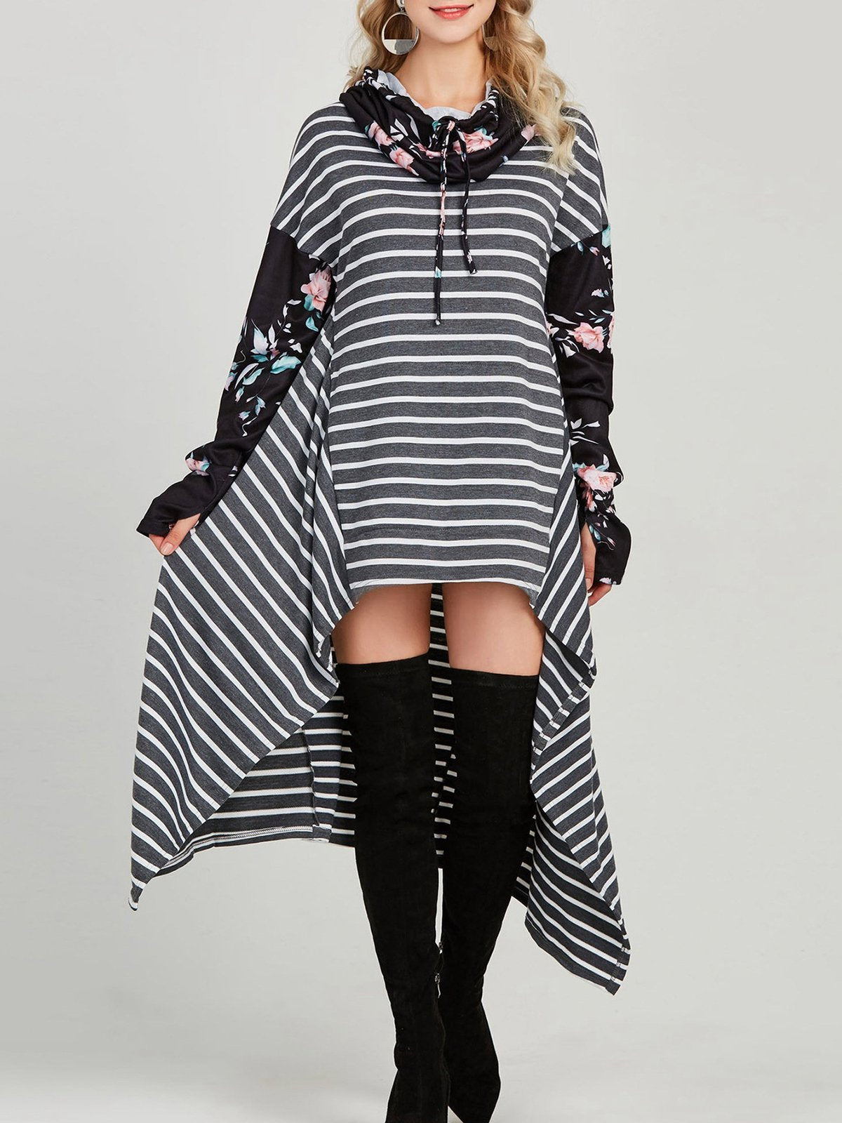 Floral Stripes Tunic Sweatshirts With Hoodie
